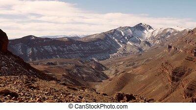 montagne, neigeux, gamme, maroc, épique, vue