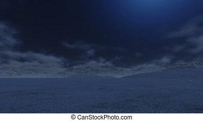montagne, neigeux, lune