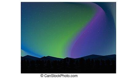 montagne, nord, aurore, ciel, arrière-plan., étoiles, nuit, paysage