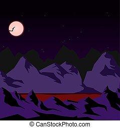 montagne, notte, lago, sangue