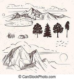 montagne, nuages, crêtes, main, gamme, dessin