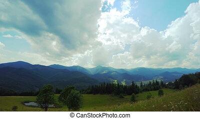 montagne, nuages, paysage