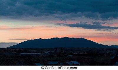 montagne, nuages, sur, timelapse, yerevan, arménie, mouvement
