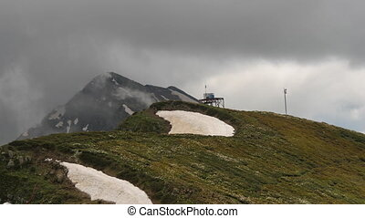 montagne, nuages, timelaps, gris, dépassement, pic
