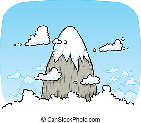 montagne, nuages