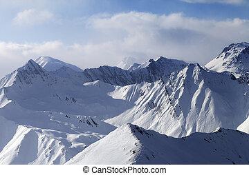 montagne, nubi, nevoso