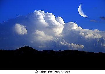montagne, nubi, tuono, cielo, billowy, luna, mezzaluna,...