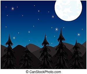 montagne, nuit, lune