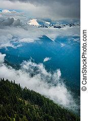 montagne, olimpico, nubi, cresta, nazionale, uragano, parco, basso, washington., vista