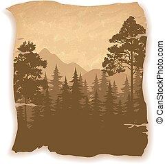 montagne, paesaggio, albero