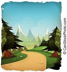 montagne, paesaggio, cartone animato, fondo