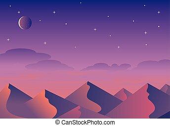 montagne, paesaggio, colline, natura, silhouette, cartone animato, vettore, fondo, orizzontale, deserto