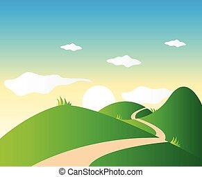 montagne, paesaggio, fondo