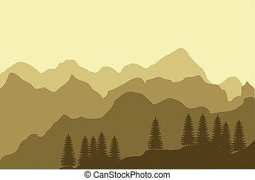 montagne, paesaggio, foresta, fondo