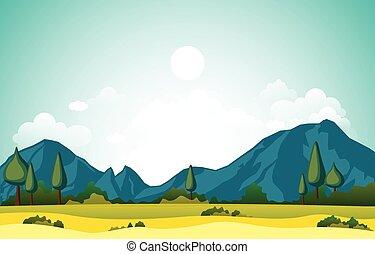 montagne, paesaggio, natura, erba verde, colline, cielo