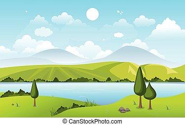 montagne, paesaggio, natura, verde, lago, colline, cielo
