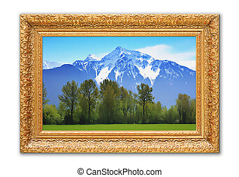 montagne, painting., roccioso