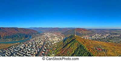 montagne, panoramique, vue ville, automne