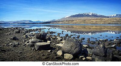 montagne, pays montagne, -, réflexions, écossais