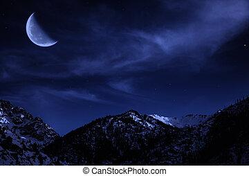 montagne, paysage hiver, nuit