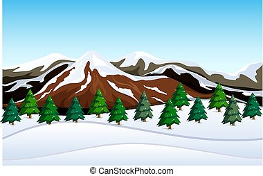 montagne, paysage neige