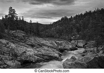 montagne, paysage., ruisseau, dramatique, noir, blanc