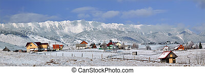 montagne, piatra, craiului, invernale, panorama