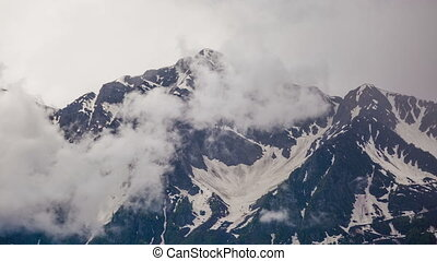 montagne, pierre, nuages, timelapse, nuageux, piliers, 4k, ...