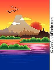 montagne, pittoresque, illustration, derrière, vecteur, coucher soleil, volcan