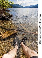 montagne, point, lac eau, pieds, vue