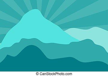 montagne, posé couches, paysage