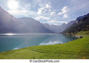 montagne, prato, landcscape, hight, luce sole, lago, verde, sopra, norvegia
