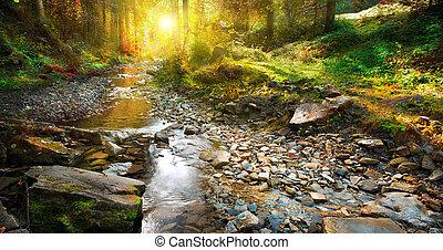 montagne, printemps, scene., forêt automne, paysage