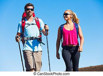 montagne, promenade, piste, surprenant, randonneurs, apprécier