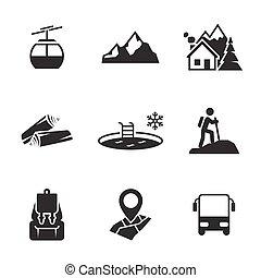 montagne, récréation, icônes