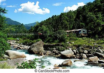 montagne, randonnée, paysage, camp, annapurna, base, rivière