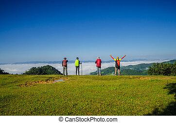 montagne, randonneurs, sommet, heureux