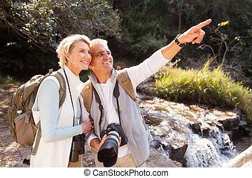 montagne, randonneurs, vallée, couple, personne agee