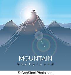 montagne, rayon soleil, paysage, fond
