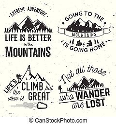 montagne, relativo, tipografico, set, quote.