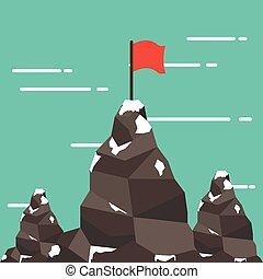 montagne, reussite, plat, peak., drapeau, mission., style., rouges
