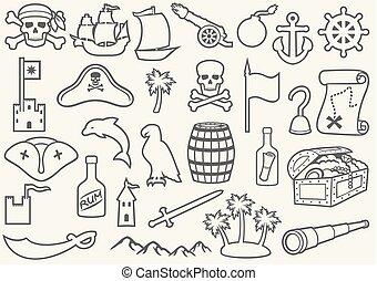 montagne, rhum, triangle, os, chapeau, mince, (sabre, ligne, pirates, longue-vue, palms), baril, carte, foulard, crochet, bateau, ensemble, vieux, trésor, canon, icônes, ancre, gouvernail, île, crâne, poitrine