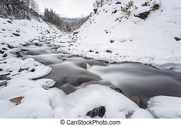 montagne, rivière, horaire hiver