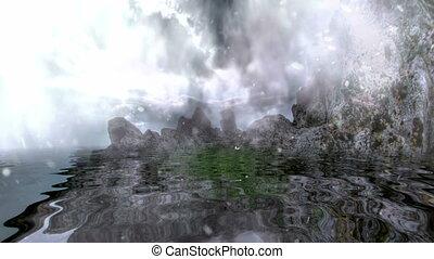 montagne rocheuse, reflété, neiger, eau, sur