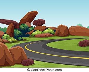 montagne, rocheux, route, scène