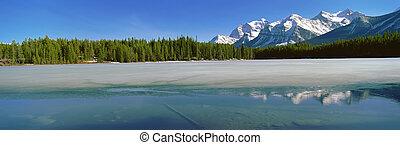montagne, rockies, vista, canadese, panoramico