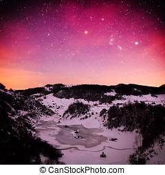montagne, roumanie, hiver,  -,  ponorului, nuit, paysage,  fundatura