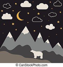 montagne, salle, papier peint, lune, stars., nuit, bébé, nouveau, paysage