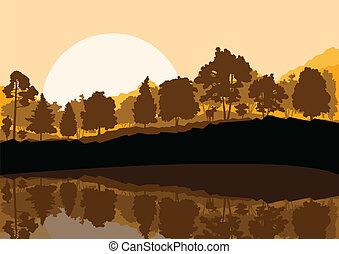 montagne, scène nature, illustration, vecteur, forêt, fond, ...