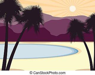 montagne, scenery., albero, costa, tropicale, fondo., vettore, palma, illustrazione